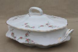 shabby chic vintage pink rose floral china covered serving dish or tureen