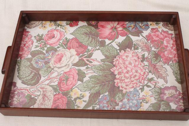 shabby chic vintage print cloth serving tray w/ wood box frame ...