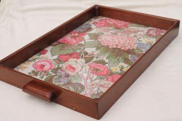 shabby chic vintage print cloth serving tray w/ wood box frame & sturdy handles
