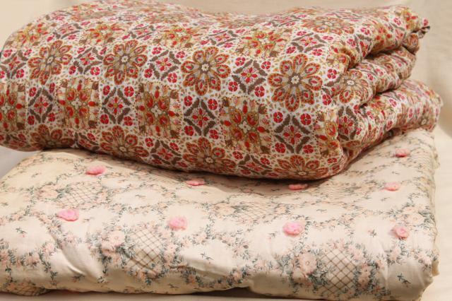 shabby chic vintage print cotton quilt comforters, soft warm tied ... : shabby chic quilts and comforters - Adamdwight.com