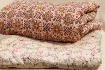 shabby chic vintage print cotton quilt comforters, soft warm tied quilts bedspreads