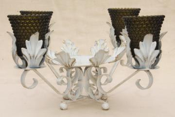 shabby chic vintage tole centerpiece w/ glass candle holders, french country style