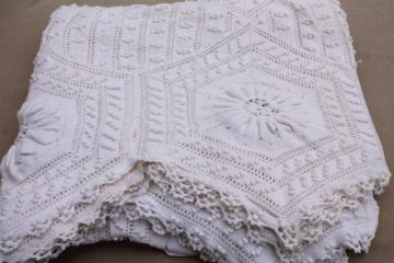 shabby chic vintage white cotton crochet lace bedspread, country cottage style