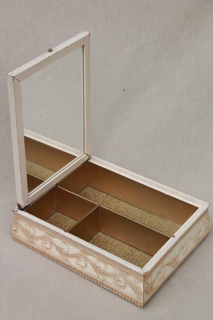 chic vintage wood jewelry box w mirror Jane Austen era romantic