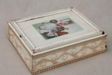 shabby chic vintage wood jewelry box w/ mirror, Jane Austen era romantic couple print