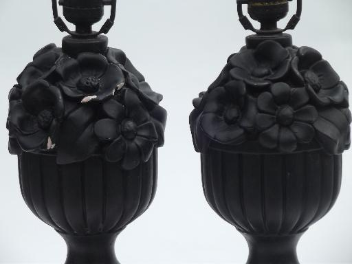 shabby chippy vintage plaster flower basket lamps, matte chalkboard black paint