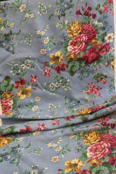 shabby cottage chic floral print vintage cotton barkcloth fabric remnant