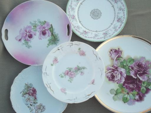 shabby cottage chic old cabbage rose floral china plates vintage germany. Black Bedroom Furniture Sets. Home Design Ideas