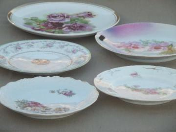 shabby cottage chic old cabbage rose floral china plates, vintage Germany