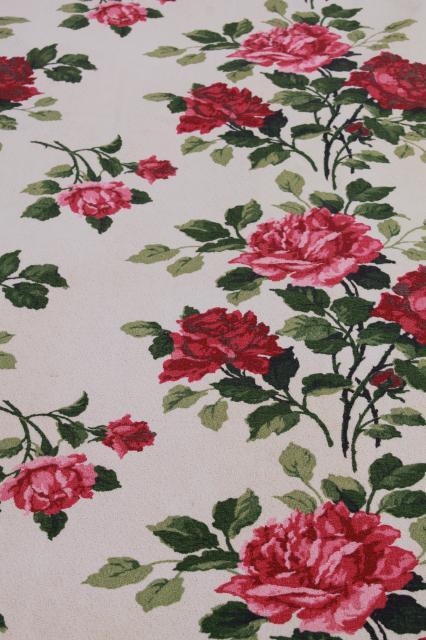 cottage chic roses print fabric curtain panels, vintage cotton ...