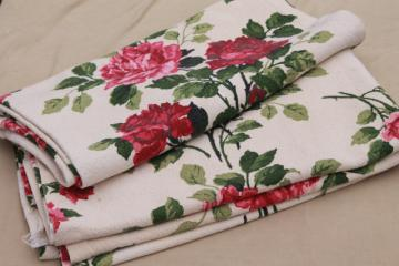 shabby cottage chic roses print fabric curtain panels, vintage cotton barkcloth curtains