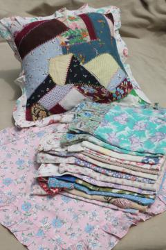 shabby cottage chic ruffled cushion pillow covers made of vintage linens, feedsacks & print fabric