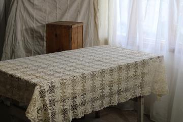 shabby cottage chic vintage cotton lace tablecloth, handmade crochet lace