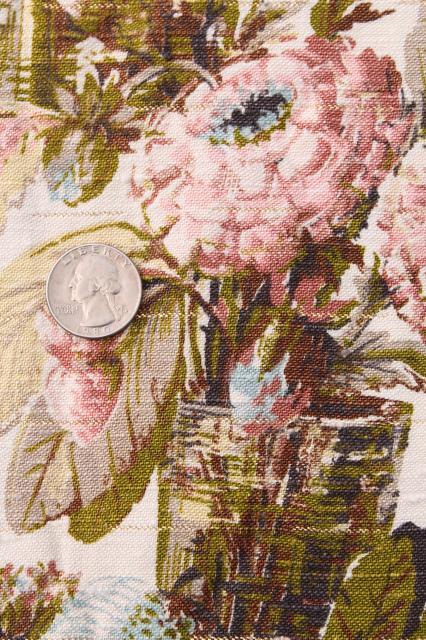 Shabby Cottage Chic Vintage Floral Print Rayon Barkcloth