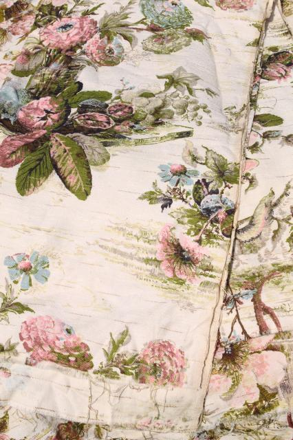 shabby cottage chic vintage floral print rayon barkcloth curtain panels & fabric