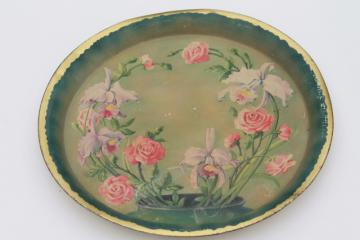 shabby cottage chic vintage floral print tin metal tray, w/ iris flowers & roses