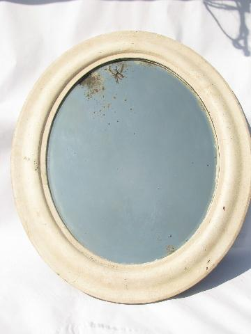 Shabby Cottage Chic Vintage Oval Mirror Old White Paint Wood Frame