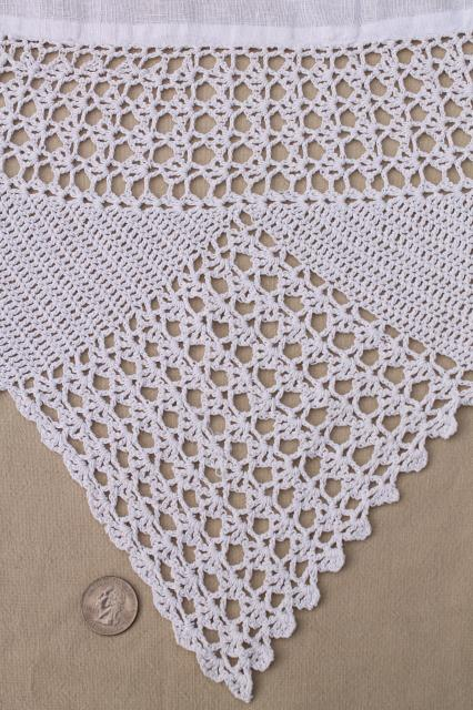Shabby Cottage Chic Vintage White Linen Round Tablecloth W Wide