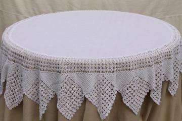 shabby cottage chic vintage white linen round tablecloth w/ wide crochet lace edging