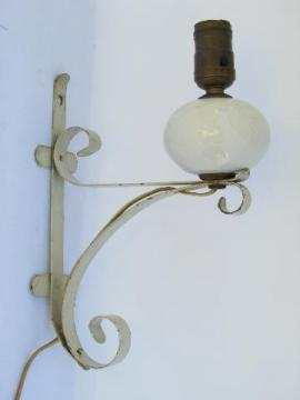 shabby cottage chic vintage white wrought iron wall sconce lamp / reading light