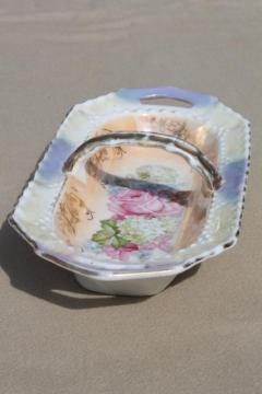 shabby cottage china flower basket dish w/ cabbage roses & hydrangeas floral