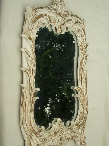 shabby cottage french country gold & white mirror, vintage chalkware frame