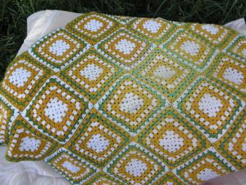 shabby cozy granny squares crochet afghan blanket, retro 60s 70s vintage