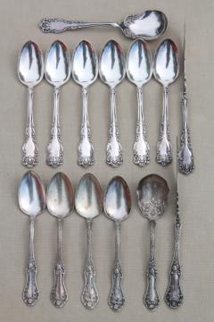 shabby fancy silver plate teaspoons, sugar spoons, butter knives - mismatched vintage silverware