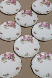 shabby french cottage roses china plates, vintage dessert plate set of 8