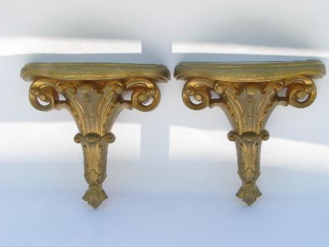 shabby french country chic ornate gold rococo, pair wall bracket shelves