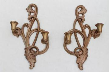 shabby gold rococo candle sconces, vintage Syroco wood wall sconce set