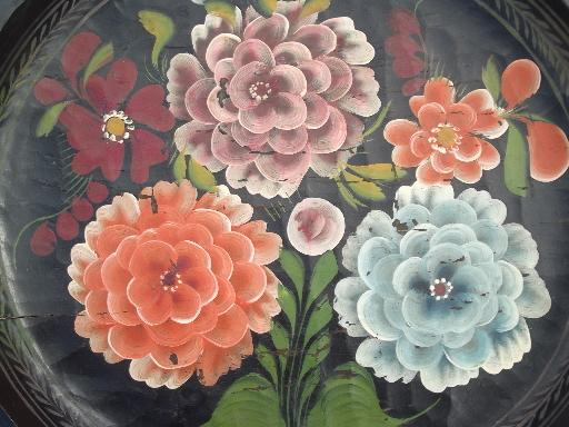 shabby hand-painted wood trays, Mexican batea trays w/ bright flowers