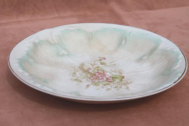 shabby lovely old leaf shape china bowls, late 1800s early 1900s vintage American china