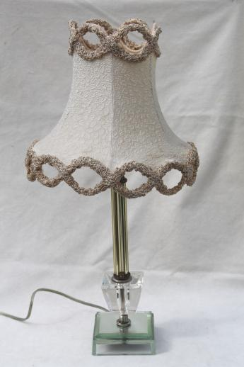 shabby mirrored glass candlestick lamp w/ vintage chenille trimmed lamp shade