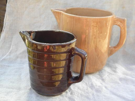 shabby old brown and tan stoneware milk pitchers, vintage USA pottery