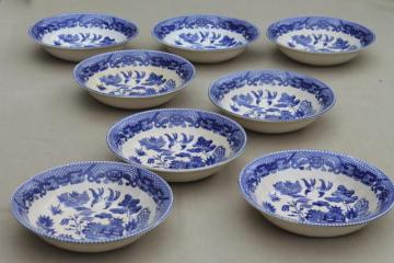 shabby old browned blue & white china bowls, vintage Japan willowware blue willow