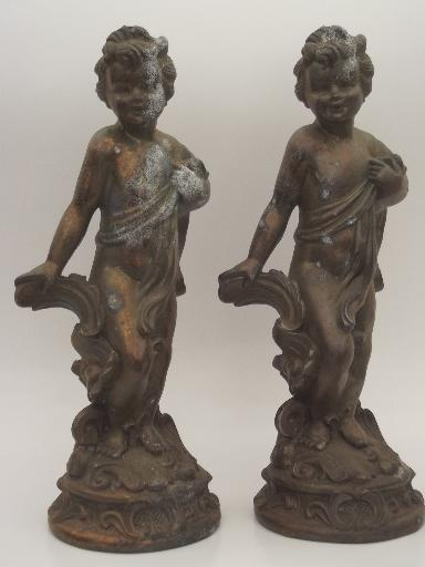 shabby old cast metal cherub angel figures, antique bronze lamp base statues
