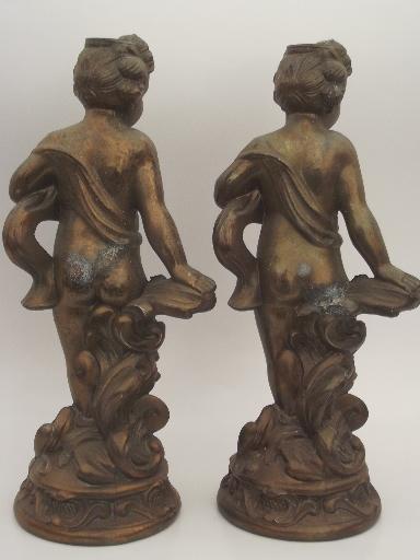 Shabby Old Cast Metal Cherub Angel Figures Antique Bronze