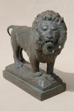 shabby old chalkware lion, plaster figure faux bronze classical statue