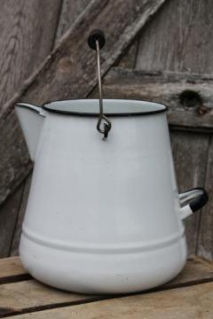 shabby old enamelware coffee pot for garden flower planter, vintage enamel ware