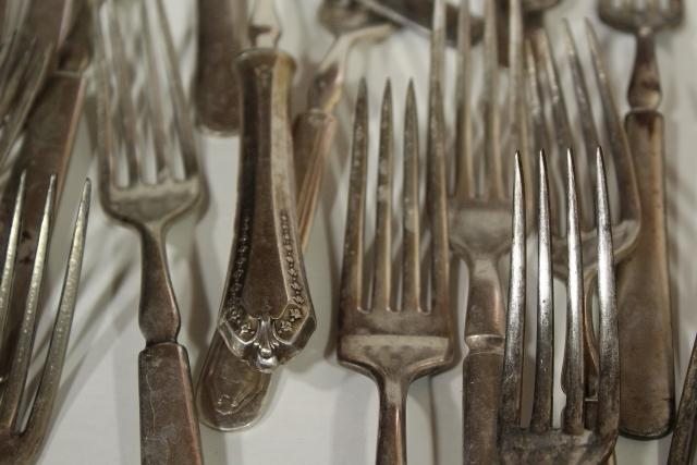 shabby old hotel silver dinner forks, antique silver plate flatware mismatched pieces