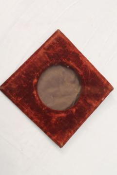 shabby old russet orange brown velvet padded picture mat or frame, square diamond w/ round opening