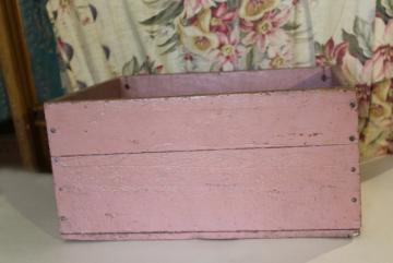 shabby pink paint vintage wood box for storage or displays, rustic country farmhouse decor