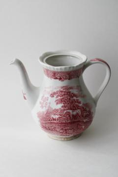 shabby pink transferware teapot, vintage Adams English Scenic pattern w/ horses