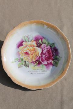 shabby roses antique china bowl w/ old store advertising Beloit Wisconsin
