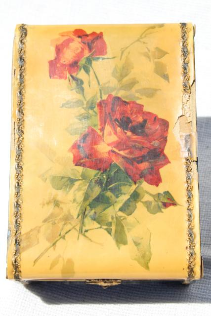 shabby roses antique hanky box, Victorian vintage candy box to hold gloves, jewelry, treasures