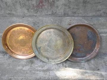 shabby tarnished brass and solid copper trays, vintage round tray lot