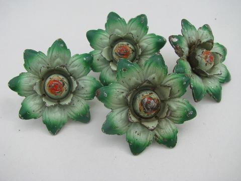 shabby tole metal flowers, vintage curtain drapery tie-backs, original paint