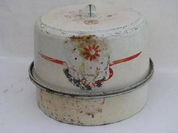 shabby vintage 1950s metal cake & pie box for kitchen storage