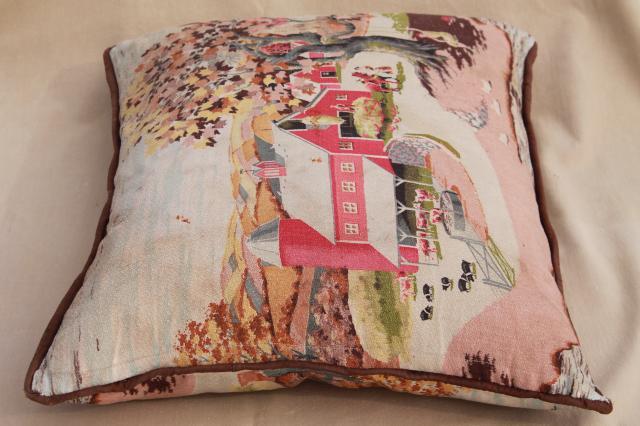 Shabby Vintage Barkcloth Cushion Feather Pillow W